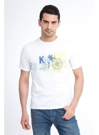 Kiğılı Bisiklet Yaka Baskılı Tişört Beyaz